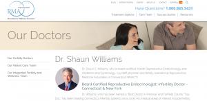 Dr. Shaun Williams bio at RMA of Connecticut